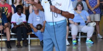 LCol (Ret'd) Harold Brown speaking at the Canadian Warplane Heritage Museum, August 2016.  Photo:  Bruce Forsyth.