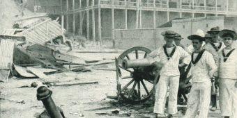 British marines pose with a captured Zanzibari gun following the capture of the Sultan's palace in Zanzibar Town, 27 August 1896.  Photo:  Richard Dorsey Mohun.