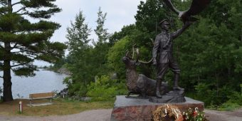 Monument to Francis Pegahmagabow in Parry Sound, July 2016.  Photo:  Bruce Forsyth.